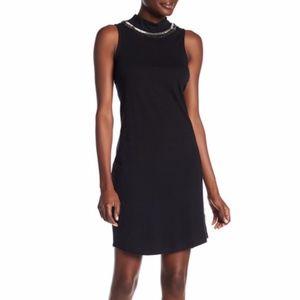 NEW Three Dots Morgan Beaded Mock Neck Dress Blk